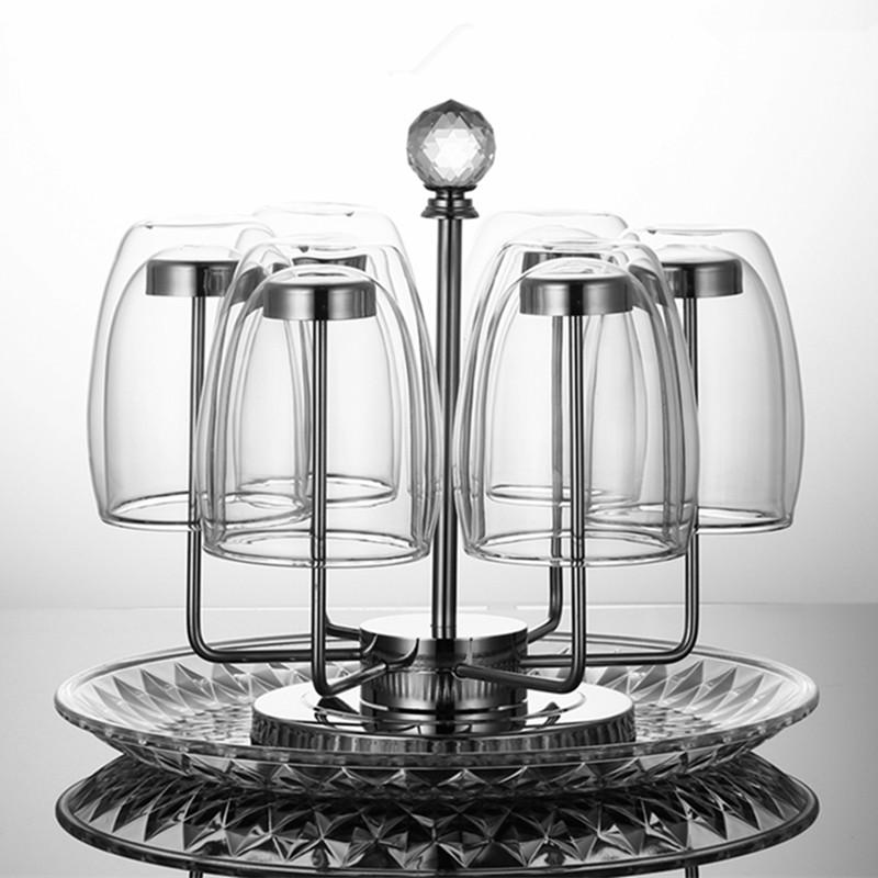 杯子架茶杯托盘家用玻璃挂水杯架子
