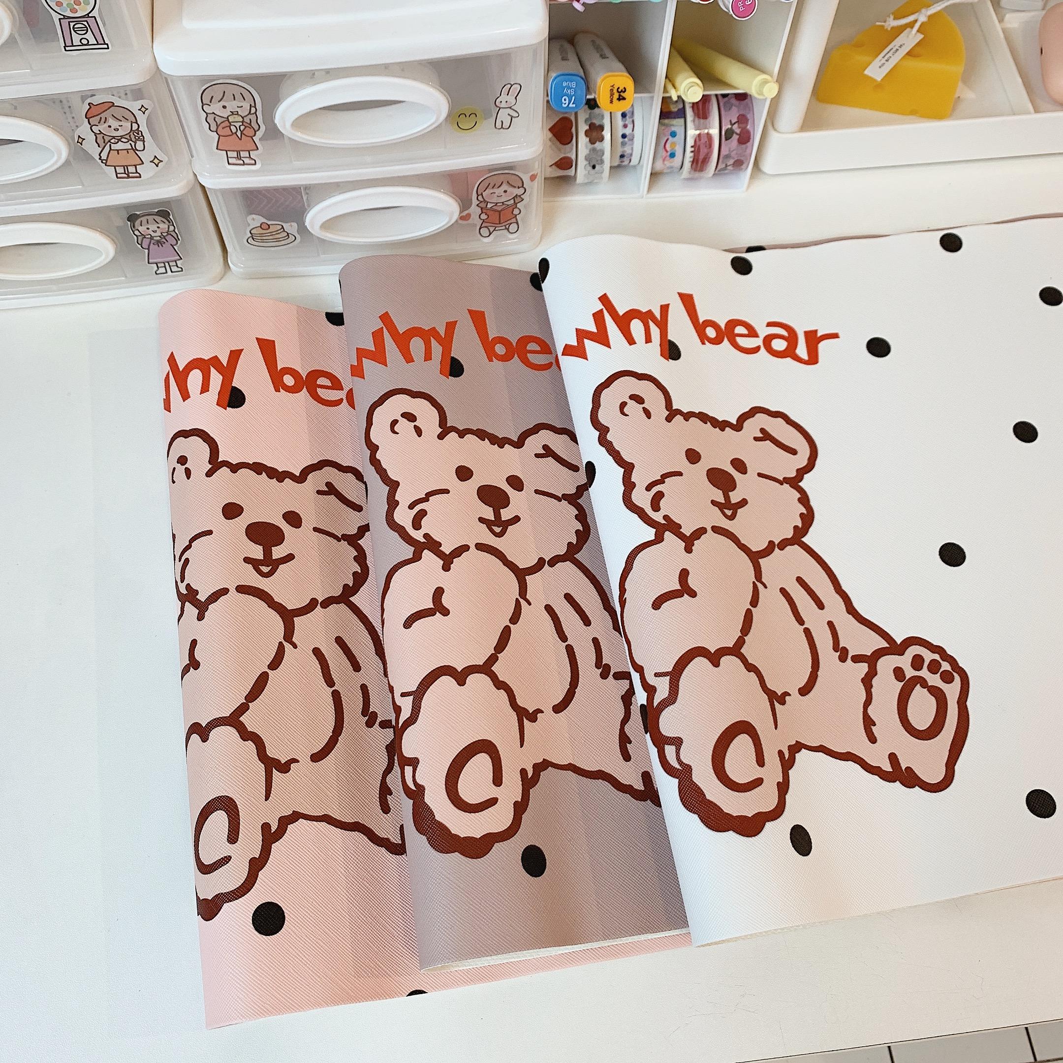 少女心放映室 ins風小熊桌墊防油防水餐墊  學生書桌卡通墊子韓國