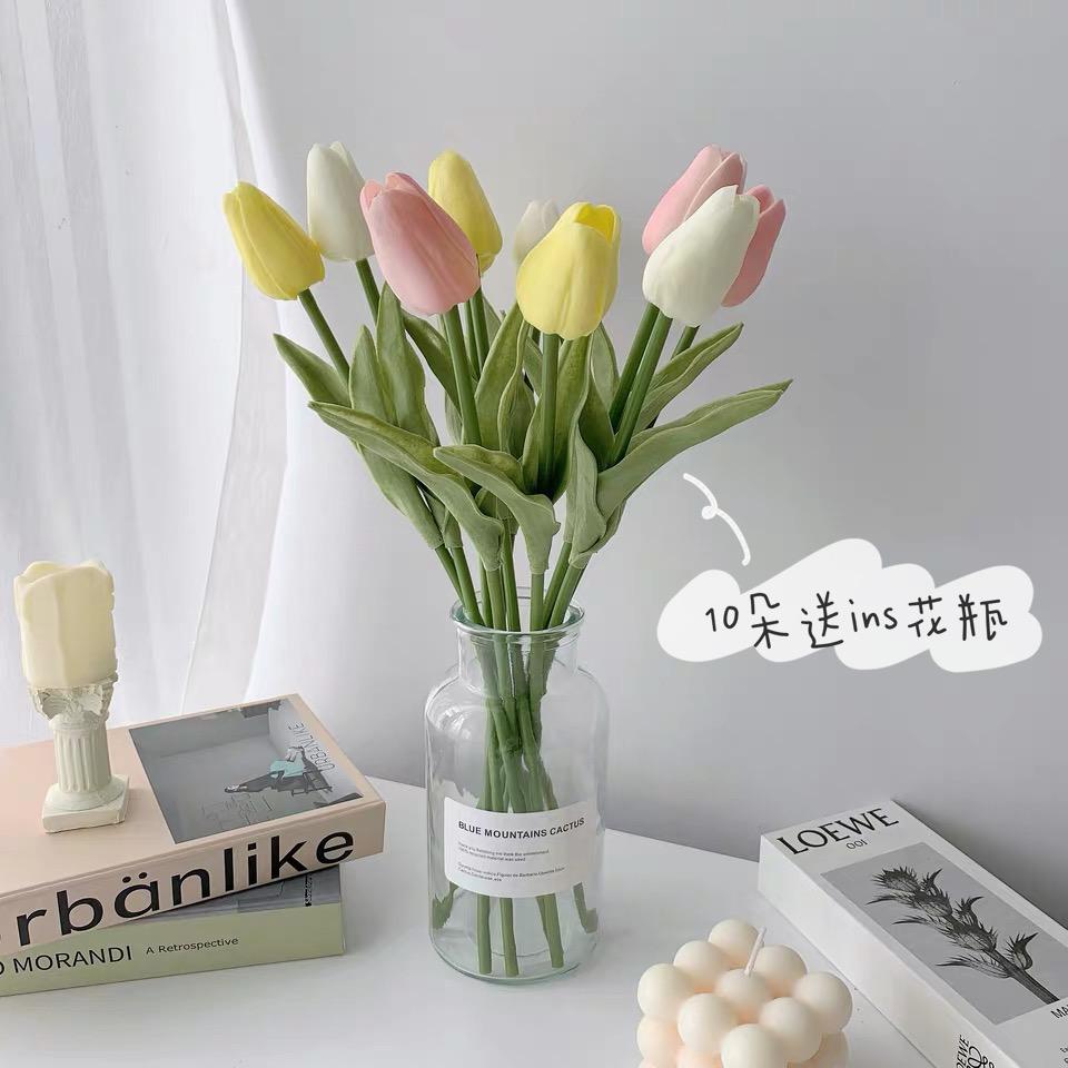 少女心放映室 人间四月天 ins仿真郁金香送花瓶 房间装饰假花摆件