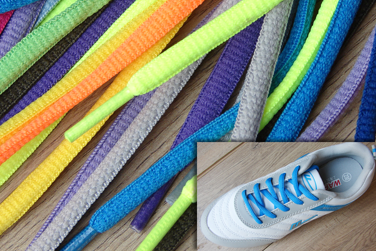 Sports shoes laces colorful oblate oval color solid semi-circular laces 1.2m mens and womens casual matching rope