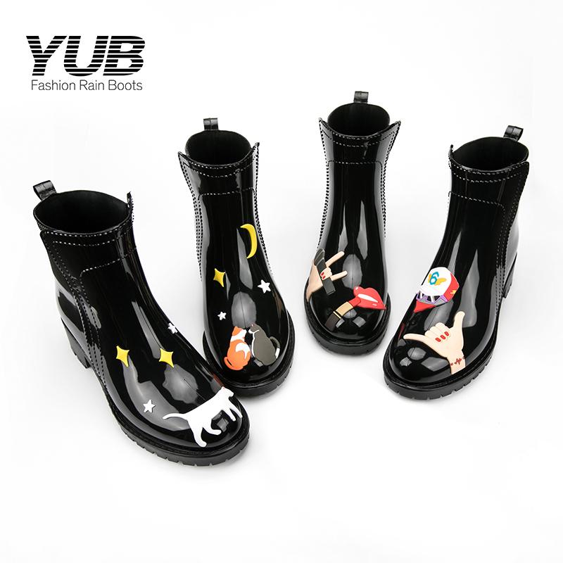 yub都市休闲雨鞋时尚女士雨靴中筒防水鞋防滑韩版水靴成人胶鞋