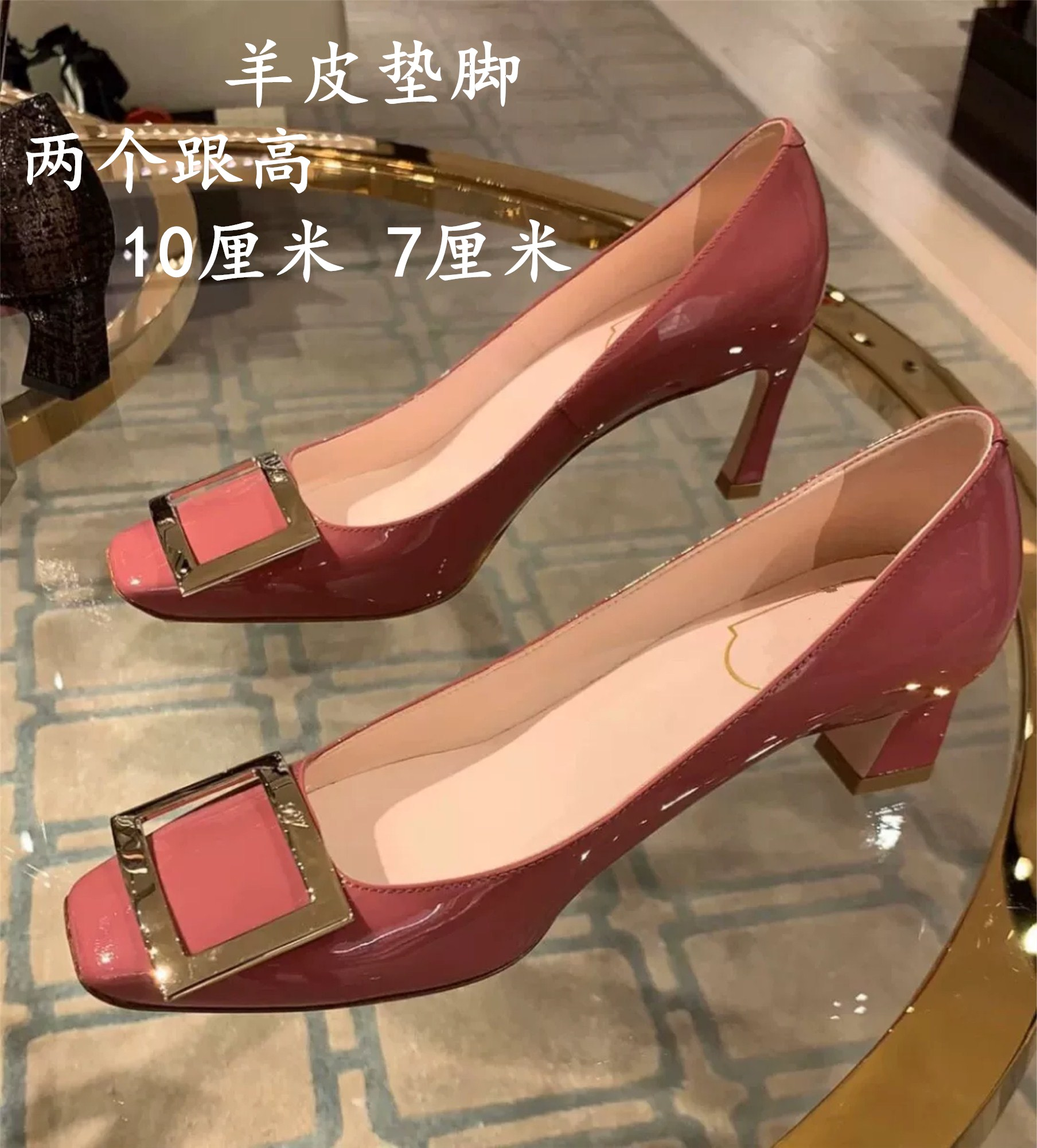 2020 new square button single shoe dry rose high-heeled womens slim heel shallow mouth square head leather medium heel womens wedding shoes