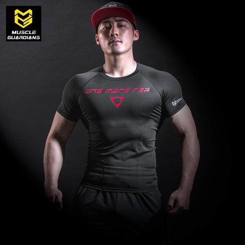 运动健身服速干衣健身上衣跑步训练弹力压缩t恤透气紧身衣男短袖