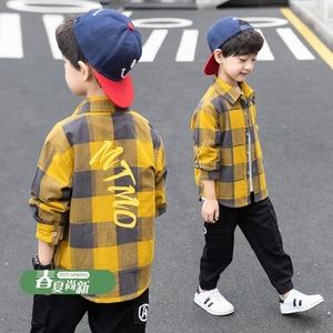男童春装格子衬衫4春秋薄款童装8岁儿童衬衣外套12洋气中大童上衣