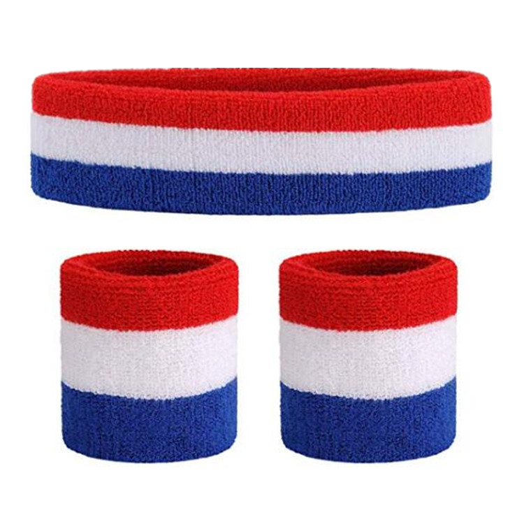 Cotton tricolor national flag 1 headband + 2 wristband sports protector fitness dance performance props