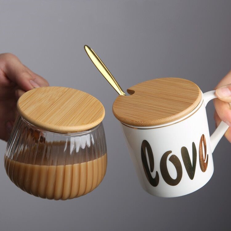 通用盖子玻璃瓶陶瓷马克杯竹木质杯盖圆形水杯配件万能星巴克杯子