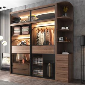 推拉门简约现代经济型实木质2衣柜