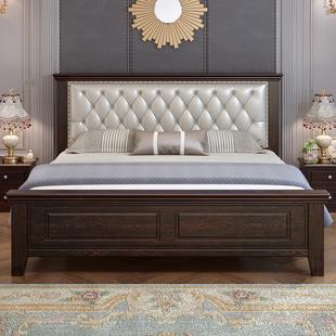 实木床1.8米现代简约1.2m单人床欧式软包床1.5米轻奢美式床双人床