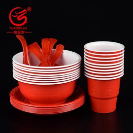 缘至家一次性碗筷套装加厚红色结婚酒店商用婚庆塑料杯碟高档餐具图片