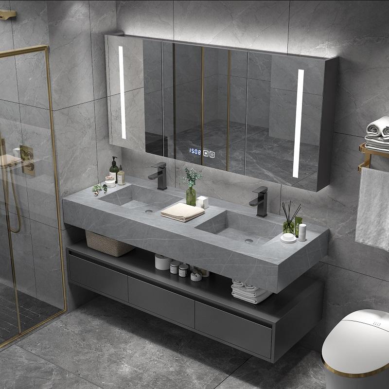 北欧岩板浴室柜组合现代轻奢智能洗漱台卫生间洗脸洗手双盆卫浴柜图片