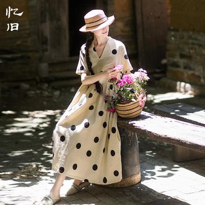 忆旧波点印花短袖连衣裙女夏2020新款宽松亚麻长裙旅行夏装裙子女