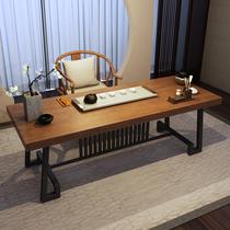 实木功夫茶桌椅组合新中式书桌禅意茶台家用现代简约洽谈桌喝茶桌