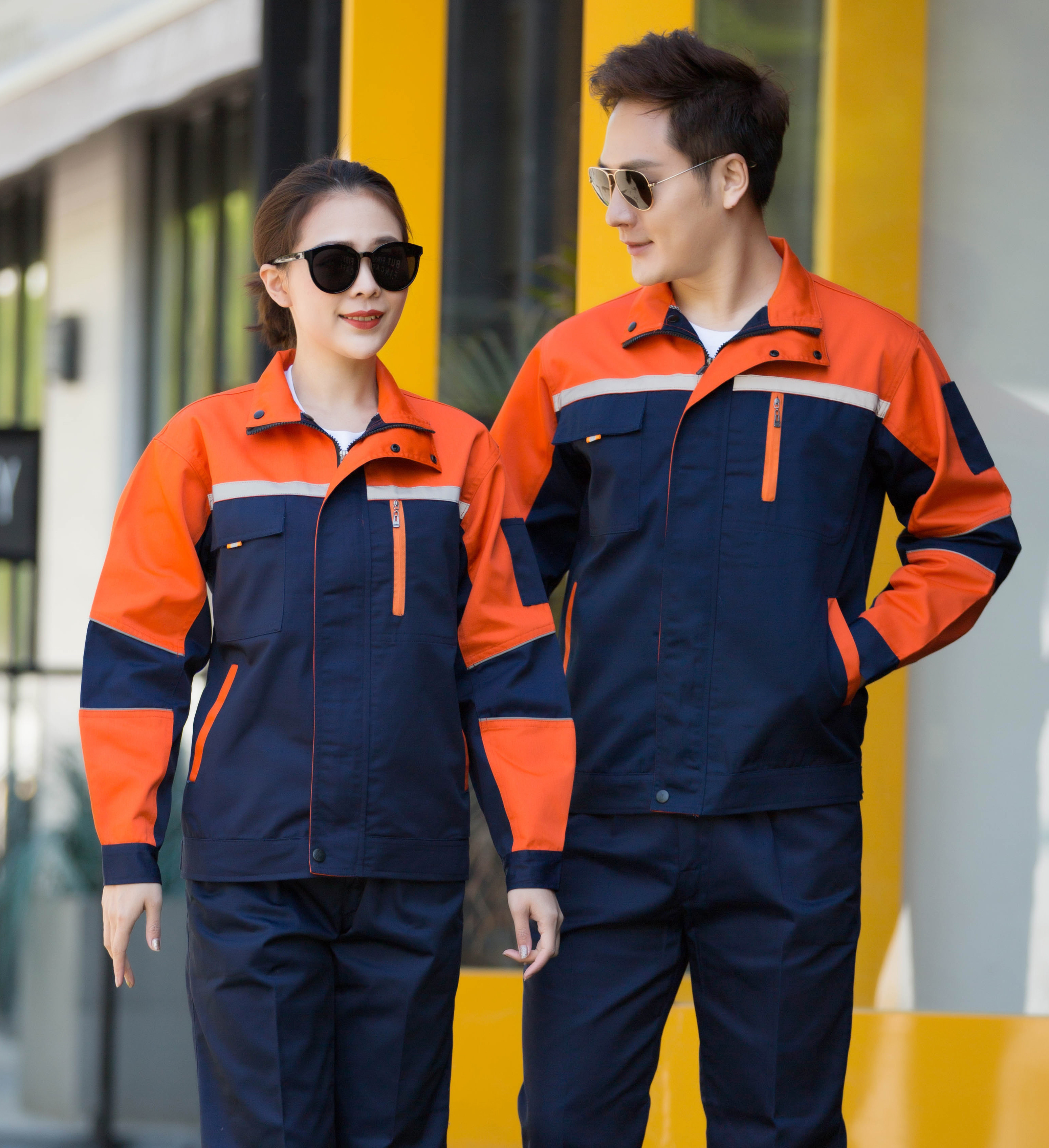Long sleeve work clothes suit mens and womens work clothes workshop clothes wear resistant engineering clothes automobile repair clothes customized labor protection clothes