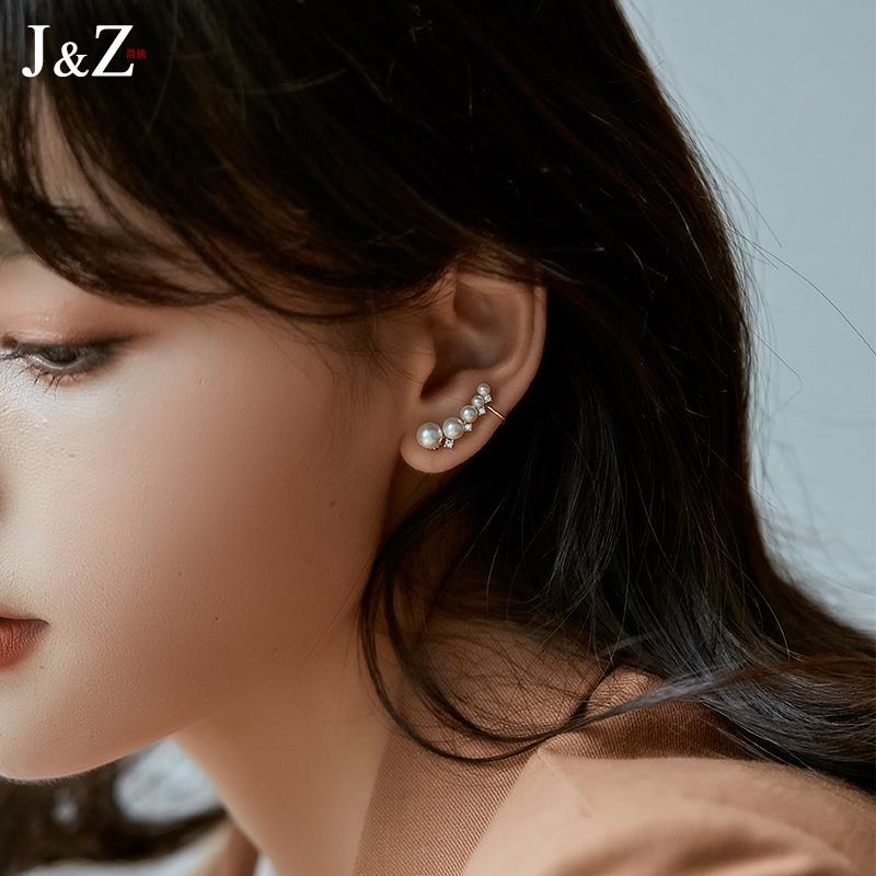 简执 不对称珍珠耳环女气质2021年新款潮耳饰耳挂无耳洞纯银耳钉