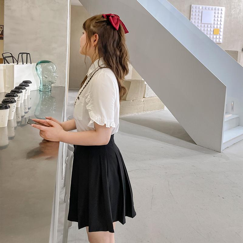 胖花 学院风白衬衫女2020夏季新款大码纯棉衬衣荷叶边短袖上衣