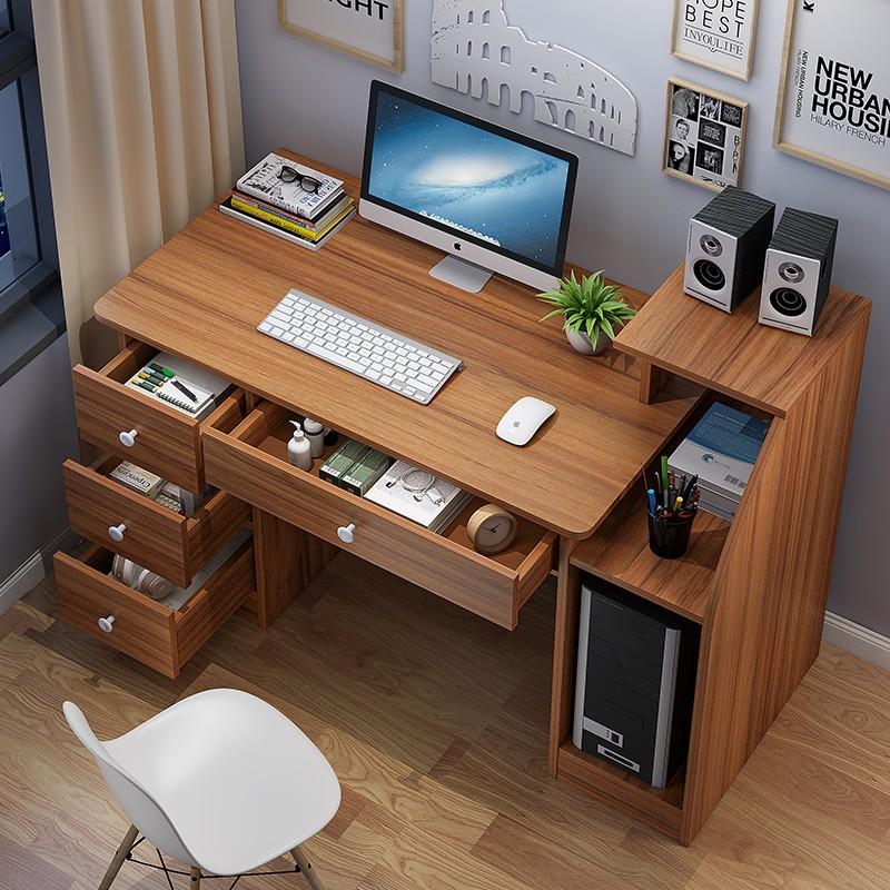西藏包邮台式电脑桌书桌家用办公桌简约带斗书架学生写字桌子