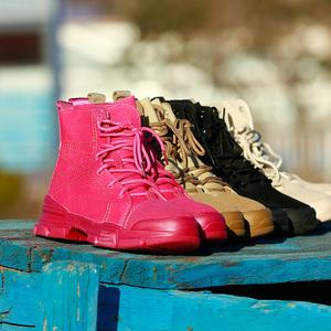 户外新款女式中帮帆布徒步靴防滑耐磨透气旅游休闲鞋运动鞋