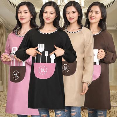 围裙家用厨房防水防油女时尚长袖大人罩衣工作服韩版可爱定制logo