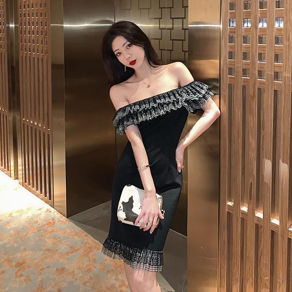 TS16732#新款气质名媛领口花边性感一字领修身礼服连衣裙