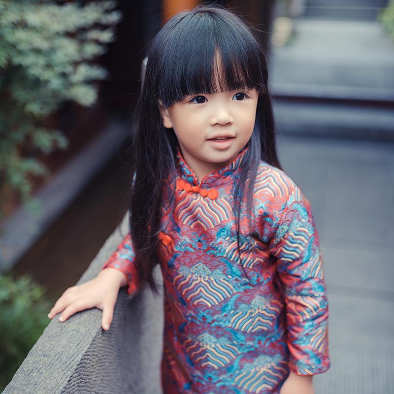 秋冬中國風兒童旗袍唐裝女童古裝真絲中式寶寶紅裙子新年裝拜年服