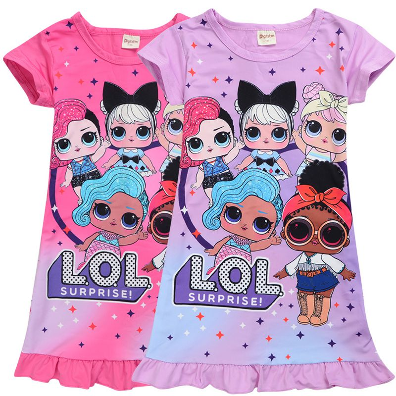 Special price foreign trade spot shipment medium and large childrens dress, sleeping dress, cartoon girls middle and long childrens dress
