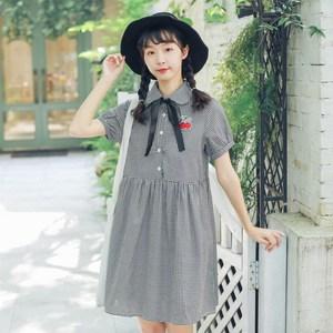 新款女装森女小清新樱桃贴布学生风小个子格子连衣裙,女装连衣裙,森林亦果