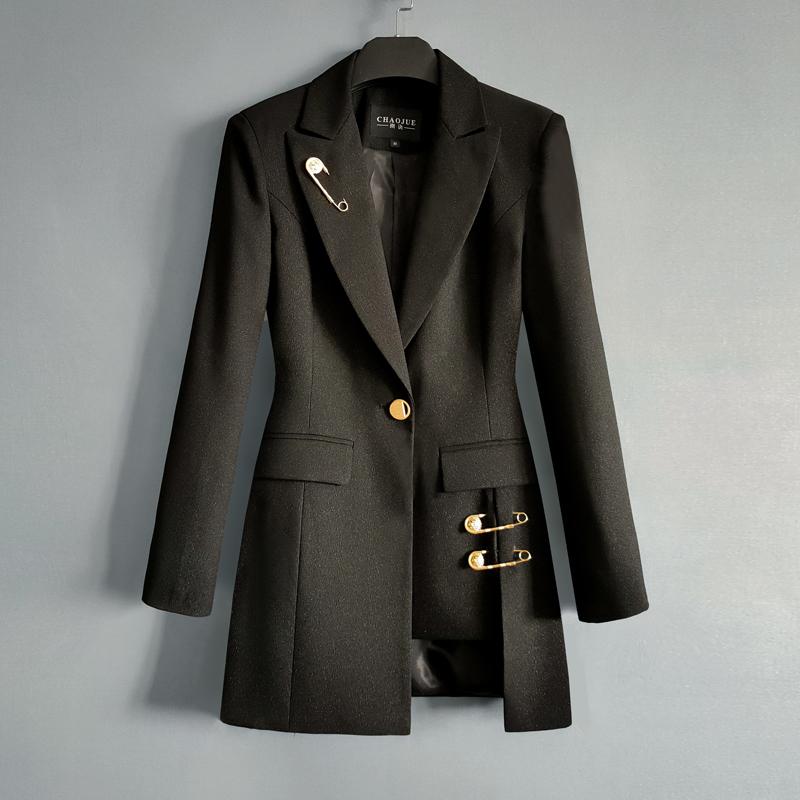 黑色西服上衣女单件2021早秋新款时尚女王范中长收腰西装外套2098