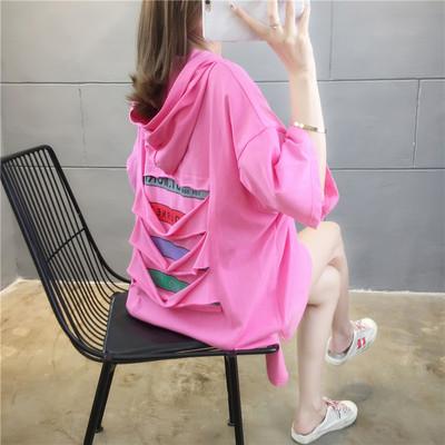 实拍2020大版网红韩版破洞刺绣短袖t恤女宽松大码女装上衣服5095
