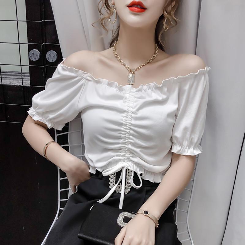 实拍2021夏季新款韩版一字领露肩修身潮流抽绳褶皱女短袖t恤上衣l