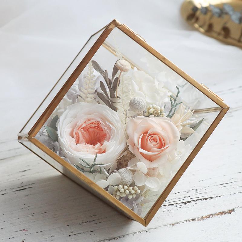 永生花礼盒玻璃花房diy摆件康乃馨教师节送老师保鲜玫瑰情人节礼