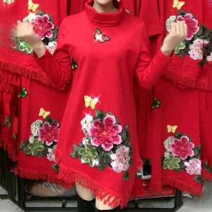 2019秋冬新款红色流苏牡丹刺绣连衣裙长袖大码中长款高领打底裙女