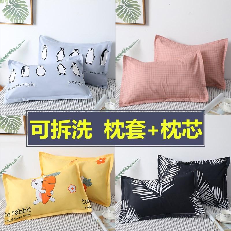 枕头一只装学生宿舍单人韩式可爱女生酒店双人家用一对枕芯带枕套