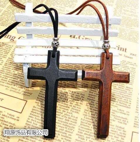 RETRO art leather rope Wooden Cross Necklace Pendant sweater chain mens and womens long lovers accessories Korean version