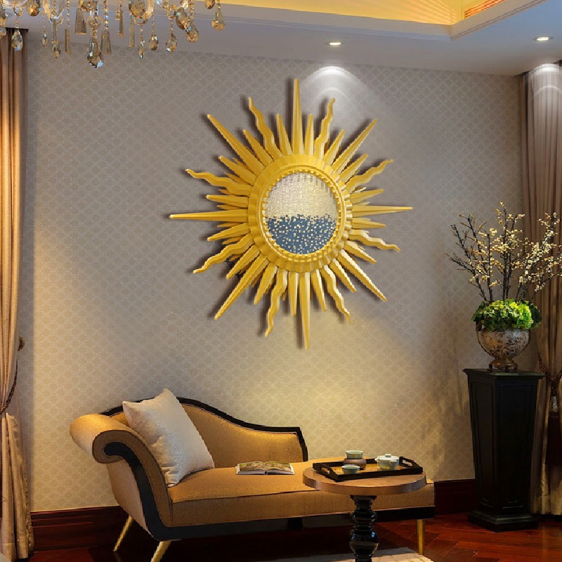 Luxury Nordic sun mirror iron wall hanging living room wall industrial wind decoration American restaurant porch Pendant