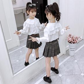 芭芭美小女孩衬衫2019女童洋气公主衬衣秋装儿童韩版白色长袖上衣