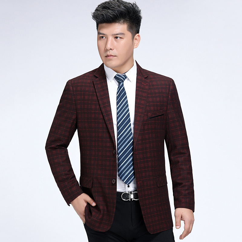 Autumn and winter mens suit fashion leisure middle-aged wool single suit lattice coat one hair substitute conventional side slit