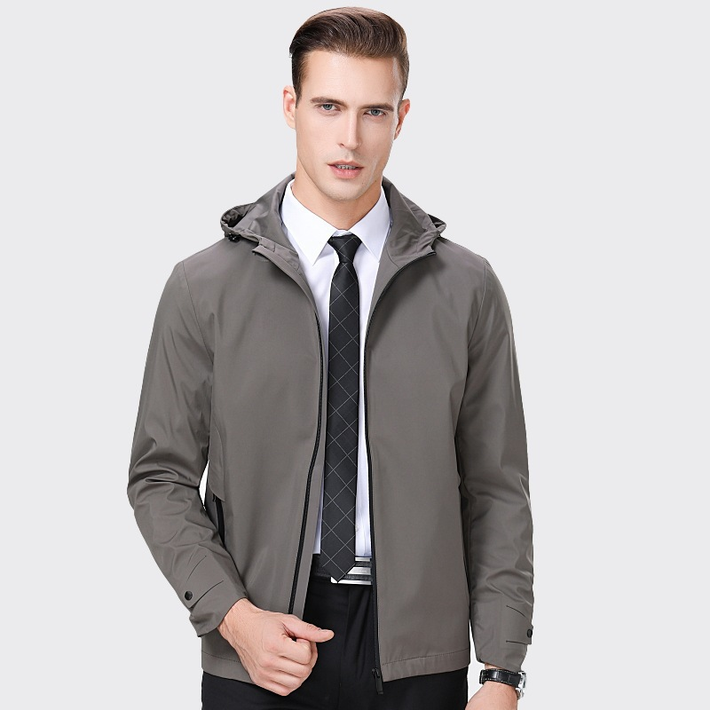 Middle aged autumn coat hooded mens clothes dad mens thin casual wear new years jacket and collar