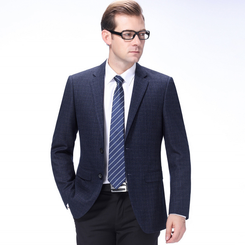 Crazy grab leisure autumn mens middle-aged fathers wool Western spring suit non iron single round hem regular men