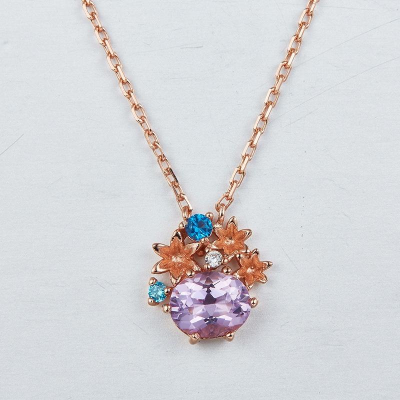 日系轻奢珠宝饰品 take up同款洋气紫水晶项链 s925镀金项饰
