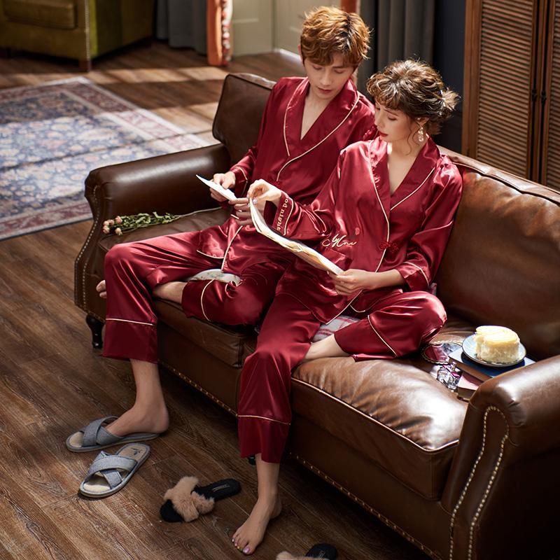 马克公主情侣睡衣夏季冰丝新婚结婚男女红色秋冬家居服套装春秋图片