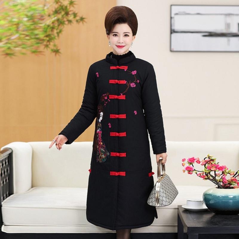 新款中老年女装棉衣民族风唐装绣花加厚大码中长款妈妈装冬装棉服