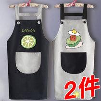 家用厨房围裙防水定制工作服logo印字2019新款男女背带餐厅背心式