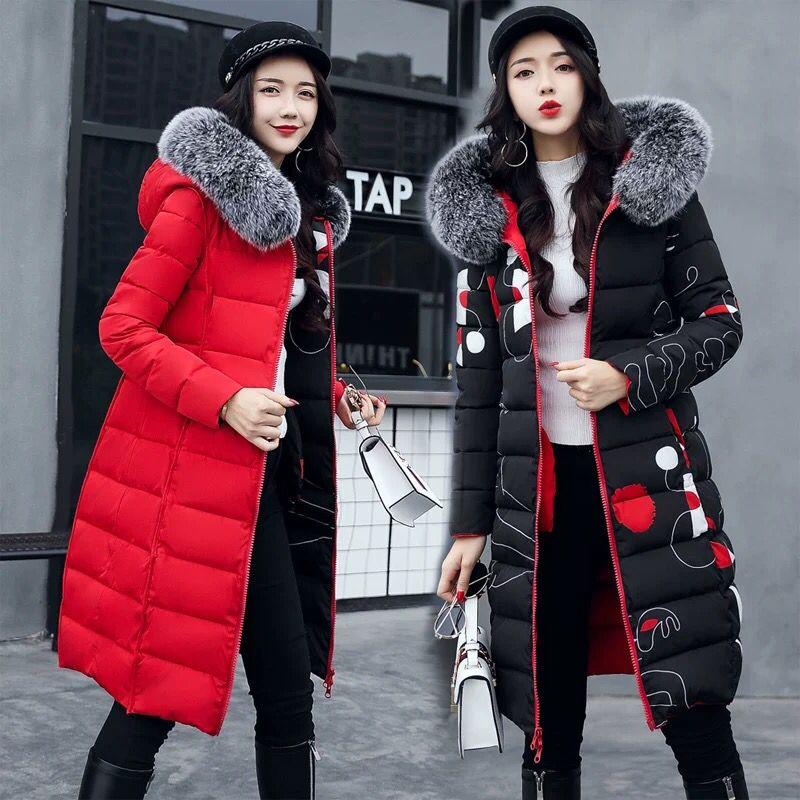 棉衣女中长款2020新款韩版冬装棉服大毛领学生正反两面穿外套潮