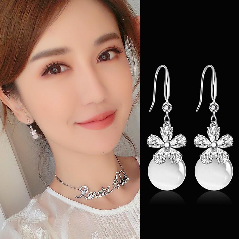 曼休妮花朵人造貓眼石耳環女淑女氣質韓國耳墜長款時尚花瓣耳飾品