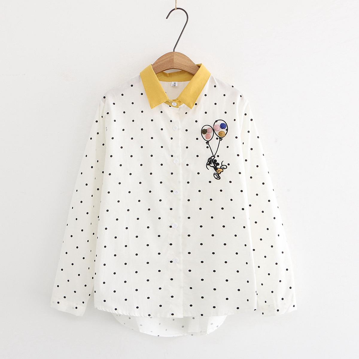 日系翻领撞色刺绣气球长袖衬衫宽松百搭学生少女打底衬衣