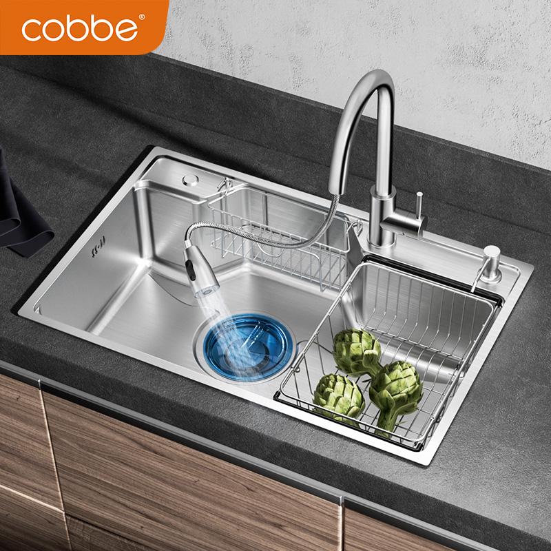 卡贝水槽单槽厨房洗菜盆加厚304不锈钢洗菜池水池水斗大单槽套餐