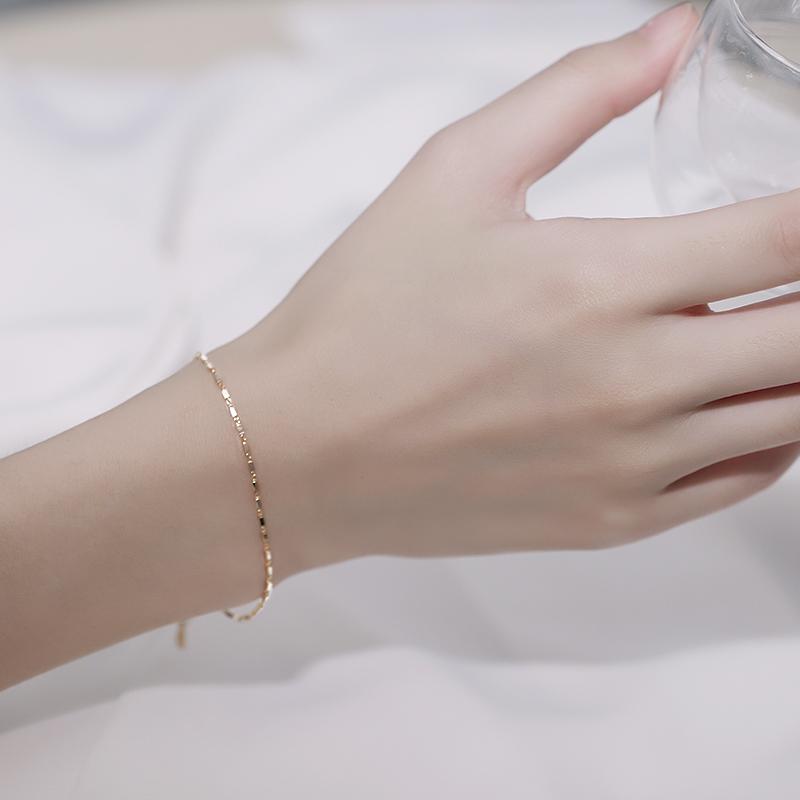 日式轻奢手链ins小众设计网红百搭女潮纯银简约森系闺蜜韩版学生