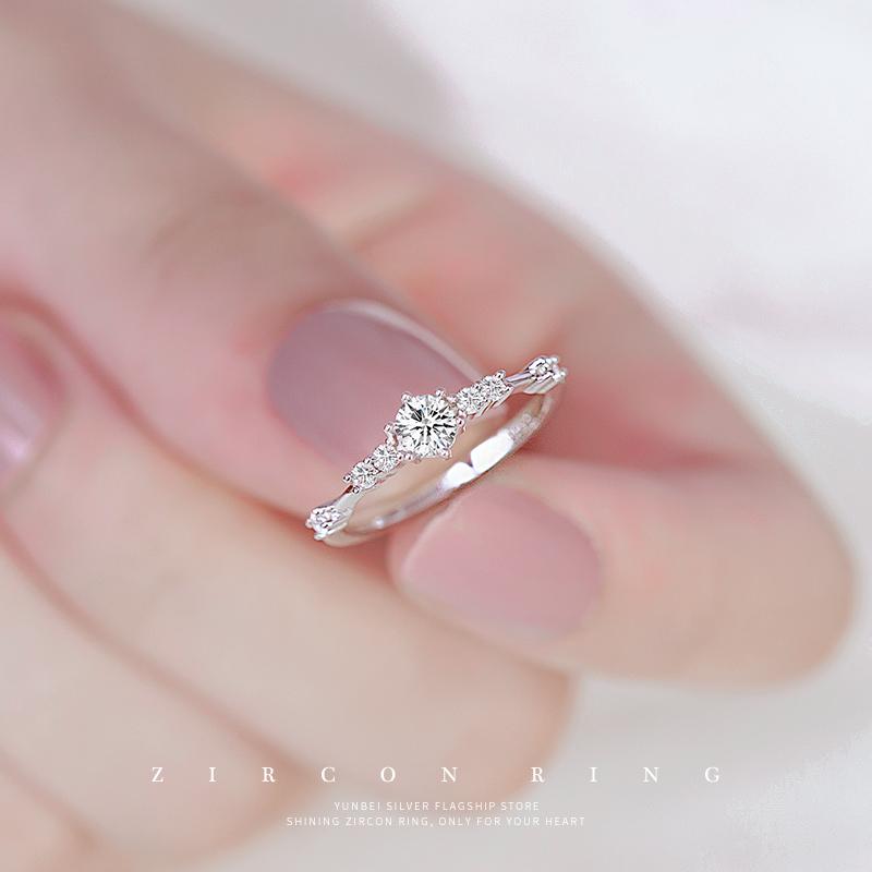 满78.00元可用39元优惠券云蓓闪耀锆石女纯银时尚个性银戒指