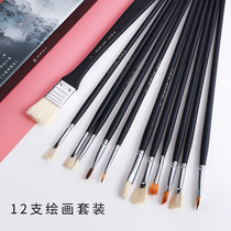 Boglino Black Knight Water chalk Pen fan pen set watercolor pen beginner oil painting Acrylic Brush 12 pack Full set of professional students with color pen set art dedicated
