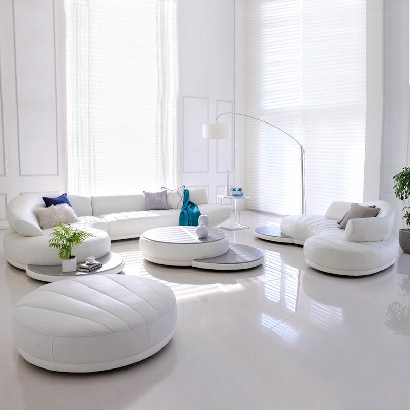 北欧弧形真皮沙发顾家新款中大户型客厅别墅转角组合ins现代简约